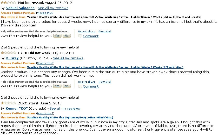 Vaseline Healthy White Reviews Amazon